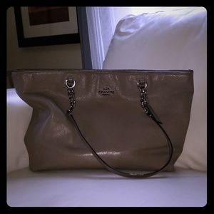 Large gray Coach shoulder bag